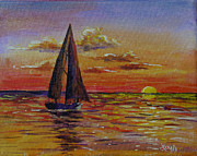 Seacape Originals - Sailboat and Siesta Key Sunset by Lou Ann Bagnall