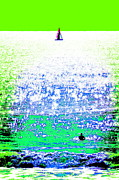 Sports Digital Art Metal Prints - Sailboat and Swimmer -- 2b Metal Print by Brian D Meredith