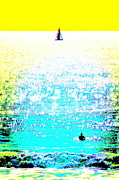 Sports Digital Art Metal Prints - Sailboat and Swimmer -- 2c Metal Print by Brian D Meredith