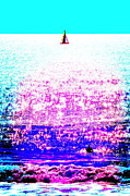 Sports Digital Art Metal Prints - Sailboat and Swimmer -- 2d Metal Print by Brian D Meredith