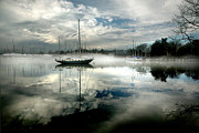 Fog At Sea Prints - Sailboat at anchor Print by Peter Cane
