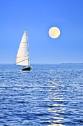 Blue Sailboat Posters - Sailboat at full moon Poster by Elena Elisseeva