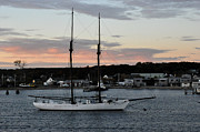 Vineyard Haven Prints - Sailboat at sunrise in Marthas Vineyard Print by Diane Lent