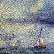 Sailboat Paintings - Sailboat At The Sea by Irina Sztukowski