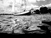 Reflections In Water Drawings Prints - Sailboat by shore Print by Jason Dunning