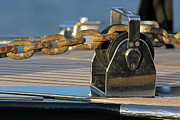 Sail Photographs Prints - Sailboat Details of Chain and Roller Print by Juergen Roth