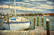 Colonial Beach Virginia Acrylic Prints - Sailboat Dockside Acrylic Print by Glenn Gemmell