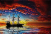 Pirate Mixed Media Posters - Sailboat Fractal Poster by Shane Bechler