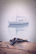 Docked Boat Framed Prints - Sailboat in Fog Framed Print by Jill Battaglia