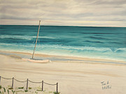 Seascape Paintings - Sailboat In The Ocean Breeze by Tina A Stoffel