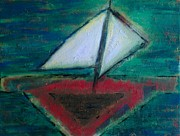Quirky Painting Posters - Sailboat Poster by Jacqueline McReynolds