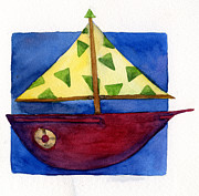 Toy Boat Paintings - Sailboat by Kerrie  Hubbard