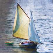 Watercolor Photo Metal Prints - Sailboat Off Marthas Vineyard Massachusetts Metal Print by Carol Leigh