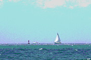 Catboat Framed Prints - Sailboat on the Horizon Framed Print by Cathy Lindsey