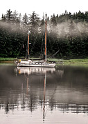 Haybales Art - Sailboat Reflection by Robert Bales