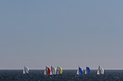Sail Photographs Prints - Sailboat Regatta Off the Coast in Newport Rode Island Print by Juergen Roth