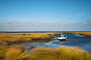 Massachusettes Prints - Sailboat Salt Marsh Print by John Greim