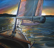 North Vancouver Painting Posters - Sailboat Poster by Stefan Kartner