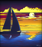 Sailboat Paintings - Sailboat Sunset 1 by Walt Foegelle