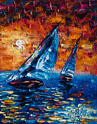 Boating Digital Art - Sailboat Sunset  by OLena Art