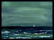 Printmaking Paintings - Sailboats across a rough surf Ventura by Cathy Peterson