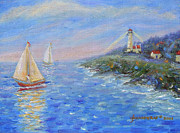 Glenna Mcrae Prints - Sailboats at Heceta Head Lighthouse Print by Glenna McRae