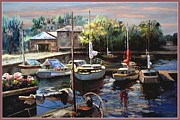 Boats At Dock Digital Art Prints - Sailboats at Rest Print by Ronald Chambers