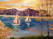 Phthalo Blue Framed Prints - Sailboats At Summer Framed Print by Ordy Duker