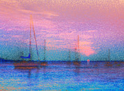 Sailboats At Sunset Print by Jeff Breiman