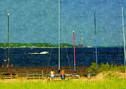 Sailboats In Harbor Drawings Posters - Sailboats Beached Poster by Rosemarie E Seppala