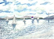 Sails Drawings - Sailboats by Derek Mccrea