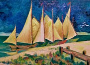 Storm Prints Mixed Media Metal Prints - Sailboats Metal Print by Gunter E  Hortz