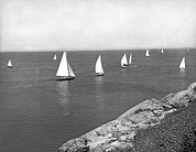 Ledge Photo Framed Prints - Sailboats On A Calm Day. Framed Print by Underwood Archives
