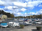 Boats At Dock Photo Posters - Sailboats on Sunapee Poster by Will Boutin Photos