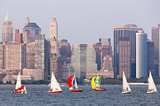 Sailboats On The Hudson I Print by Clarence Holmes