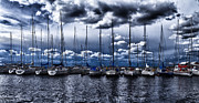 Blue Sailboat Posters - Sailboats Poster by Stylianos Kleanthous