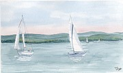 Balaton Paintings - Sailboats004 by Peschka Zsuzsanna