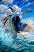Striped Marlin Painting Posters - Sailfish And Flying Fish Poster by Terry Fox