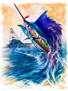 Yacht Mixed Media Metal Prints - Sailfish and Sportfisher art Metal Print by Mike Savlen