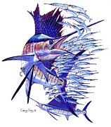 Blue Marlin Paintings - Sailfish ballyhoo by Carey Chen