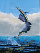 Blue Marlin Paintings - Sailfish Dance Off0054 by Carey Chen