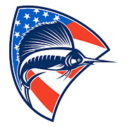 Fish Digital Art Prints - Sailfish Fish Jumping American Flag Shield Retro Print by Aloysius Patrimonio