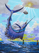 Sailfish Painting Framed Prints - Sailfish football Off0030 Framed Print by Carey Chen