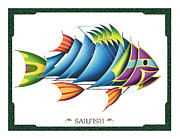 Jon Q Wright Framed Prints - Sailfish Framed Print by JQ Licensing