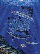 Blue Marlin Paintings - Sailfish round up Off0060 by Carey Chen