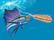 Shark Digital Art Prints - Sailfish Sub Print by Carey Chen