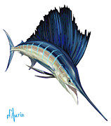 Fishing Paintings - SailFish by Tom Dauria