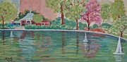 Pond In Park Painting Prints - Sailin Away in Central Park Print by Margaret Bobb