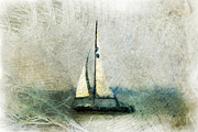 Sailboat Ocean Mixed Media Posters - Sailin With Sally Starr Poster by Trish Tritz