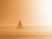 Paul Topp Art - Sailing a Hazy Sunset by Paul Topp
